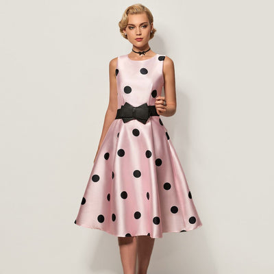 Sleeveless Bow Retro Polka Dot Dress