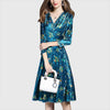 3/4 Length Sleeve V Neck Feminine Floral Print Dress