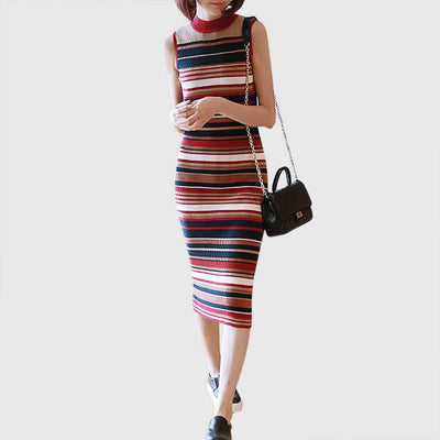 Sleeveless Round Collar Cool Striped Dress