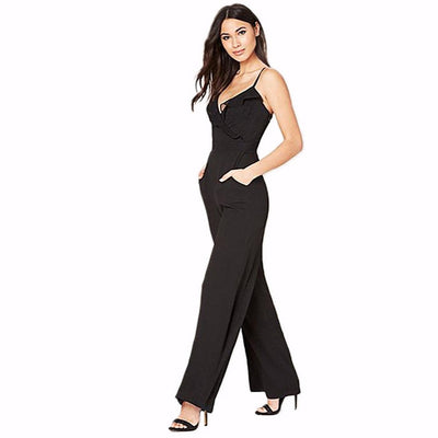 Sleeveless Spaghetti Strap Striking Plain Jumpsuit