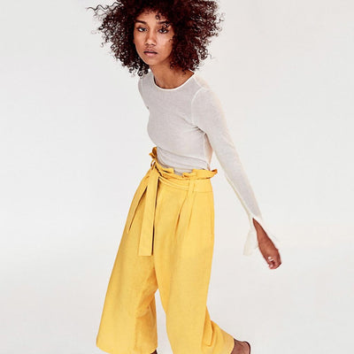 High Waist Bow Flattering Plain Pants