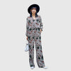 Puff Sleeve V Neck Striking Geometric Print Jumpsuit