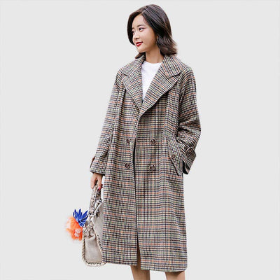 Buckle Sleeve Button Classic Plaid Coat