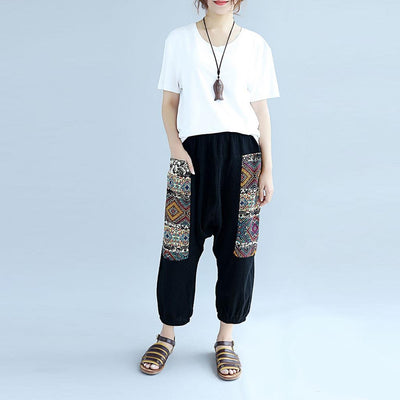 Low Crotch Pocket Beachy Tribal Embroidery Pants