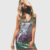 Sleeveless Sequin Glittery Plain Bodycon Club Dress