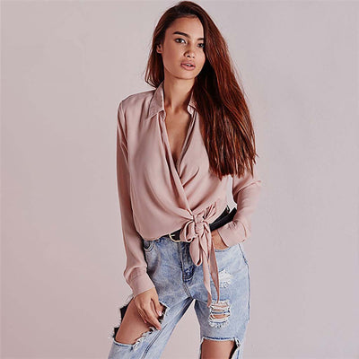 Cuff Sleeve Bow Feminine Plain Blouse
