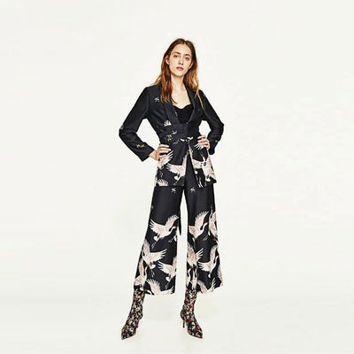 Medium Rise Wide Leg Oriental Natural Print Pants