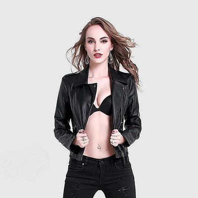 Long Sleeve Zipper Punky Plain Jacket