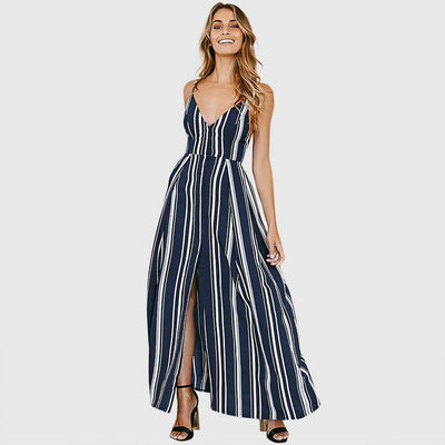 Sleeveless Bow Nautical Striped Dress