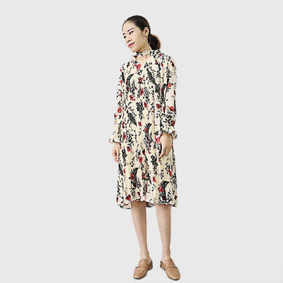 Flounce Sleeve High Neck Belt Floral Pleated Dress