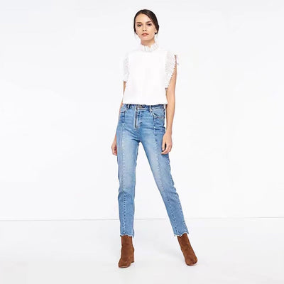 Medium Rise Pockets On-Trend Plain Jeans