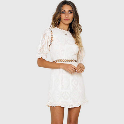 Puff Sleeve Boat Neck Crochet Shift Short Dress