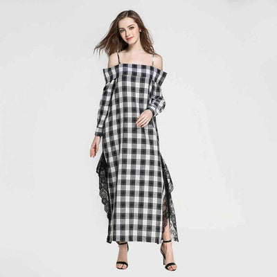 Long Sleeve Lace Unique Plaid Dress