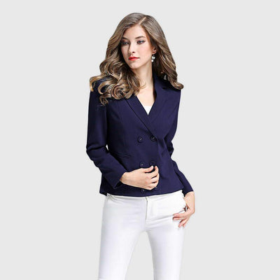 Long Sleeve Button Classic Plain Blazer