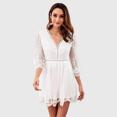 3/4 Length Sleeve V Neck Lace Floral Skater Short Dress