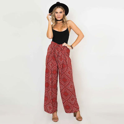 High Rise Bow Hippy Geometric Print Pants