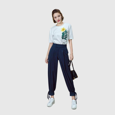 Medium Rise Lace-Up Urban Plain Pants