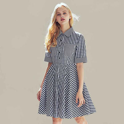 Half Sleeve Pockets Retro Gingham Dress