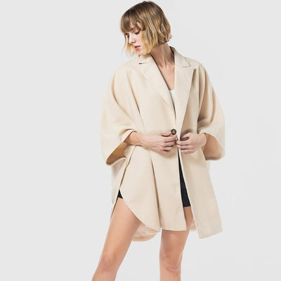 3/4 Length Sleeve Button Chic Plain Coat