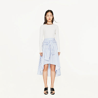 Regular Waist Girly Striped Skirt