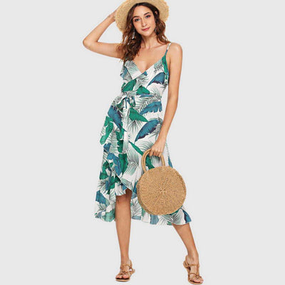 Sleeveless V Neck Leaf Print Sun Midi Dress