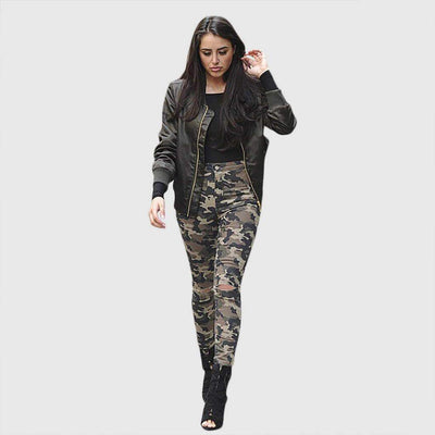 High Waist Skinny Fit Urban Camouflage Jeans