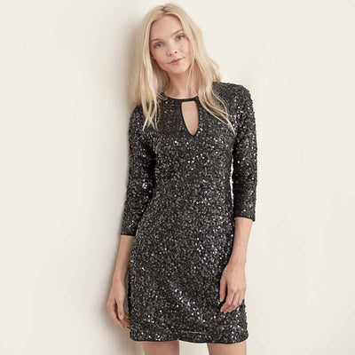 3/4 Length Sleeve Sequin Sparkly Plain Dress