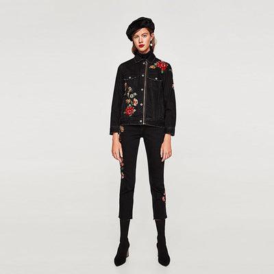 Long Sleeve Shirt Collar Rocking Floral Embroidery Jacket