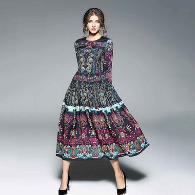 Long Sleeve Round Neck Boho Abstract Print Dress