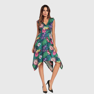Cap Sleeve V Neck Sweet Floral Print Dress