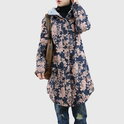 Long Sleeve Hooded Casual Floral Print Coat