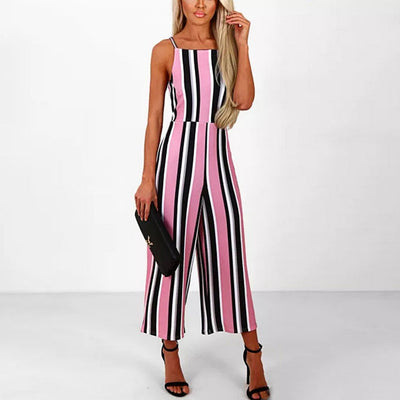 Sleeveless Spaghetti Strap Colorful Striped Jumpsuit