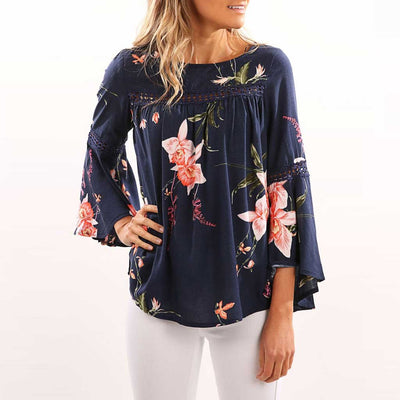 Cute Sleeve Boat Neck Hippy Floral Print Smock