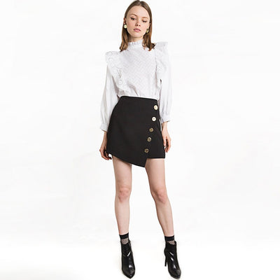 Button Edgy Plain Asymmetric Skirt