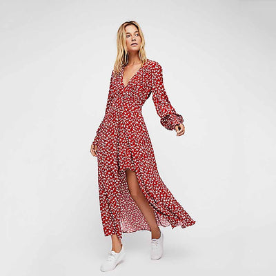 Puff Sleeve Deep V Neck Pretty Bird Print Dress