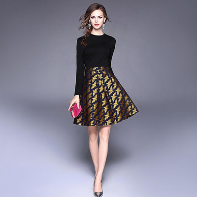 Long Sleeve Round Neck Elegant Animal Print Dress