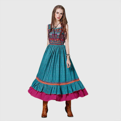 Sleeveless Square Neck Hippy Tribal Embroidery Dress