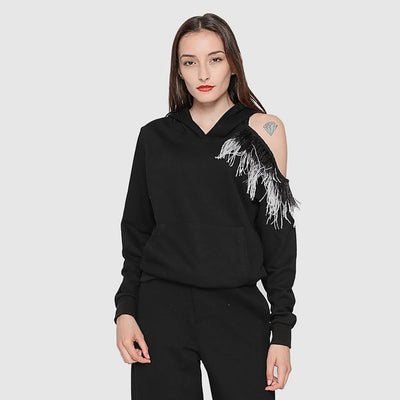 Long Sleeve Fringed Unusual Plain Sweatshirt