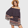 Bell Sleeve Off Shoulder Tribal Print Tunic Short Dress