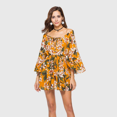 Bell Sleeve Off Shoulder Floral Print Tea Short Dress