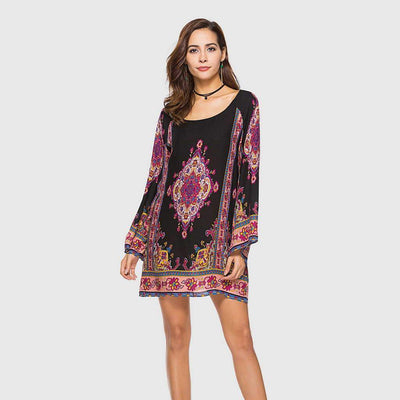 Bell Sleeve Scoop Neck Paisley Tunic Short Dress