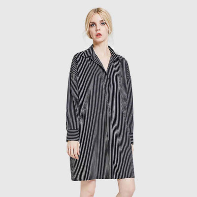 Cuff Sleeve Shirt Collar Chic Striped Smock