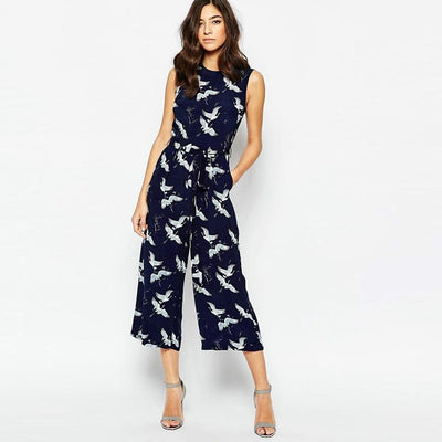 Sleeveless Round Neck Oriental Natural Print Jumpsuit