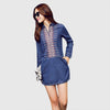 Long Sleeve Shirt Collar Casual Tribal Embroidery Dress