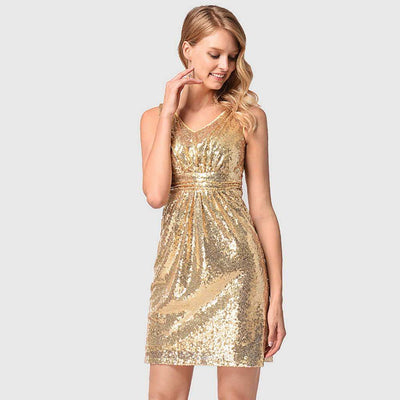 Sleeveless Sequin Sparkly Plain Dress