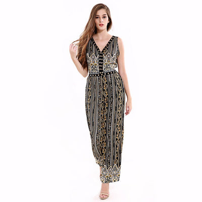 Sleeveless V Neck Bold Tribal Print Jumpsuit