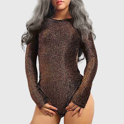 Long Sleeve Round Neck Sparkly Plain Bodysuit