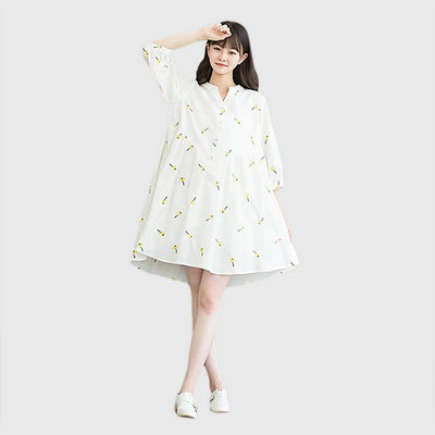 Puff Sleeve Round Collar Cute Floral Print Dress