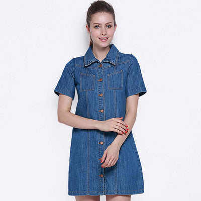Short Sleeve Button Sweet Plain Dress