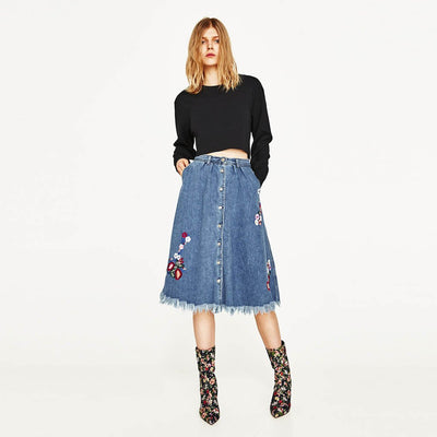 High Rise Funky Floral Embroidery Skirt